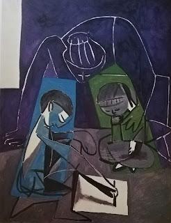 Рисунок Клода, Франсуаза и Палома, Пикассо, 1954