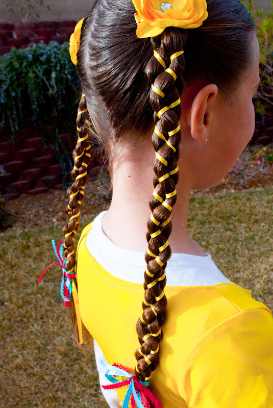 Phenomenal Princess Piggies 5 Strand Braid With Ribbon Short Hairstyles For Black Women Fulllsitofus