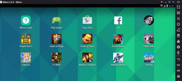 Antarmuka utama emulator Android pada PC MEmu