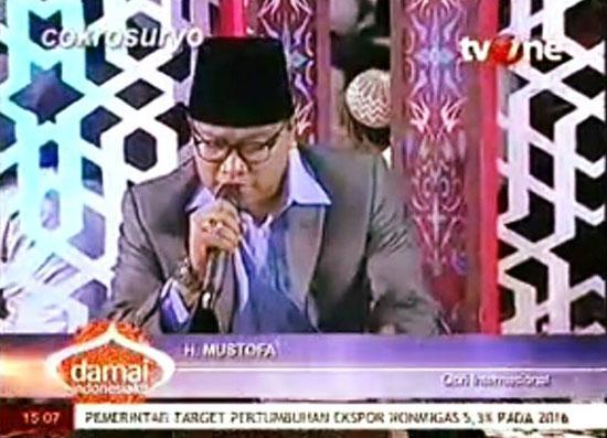 H.Mustofa Tuwuh Wongsodikromo sedang beraksi dalam sebuah acara di televisi Swasta baru baru ini.  Foto Facebook H.MustofaTwonngsodikromo