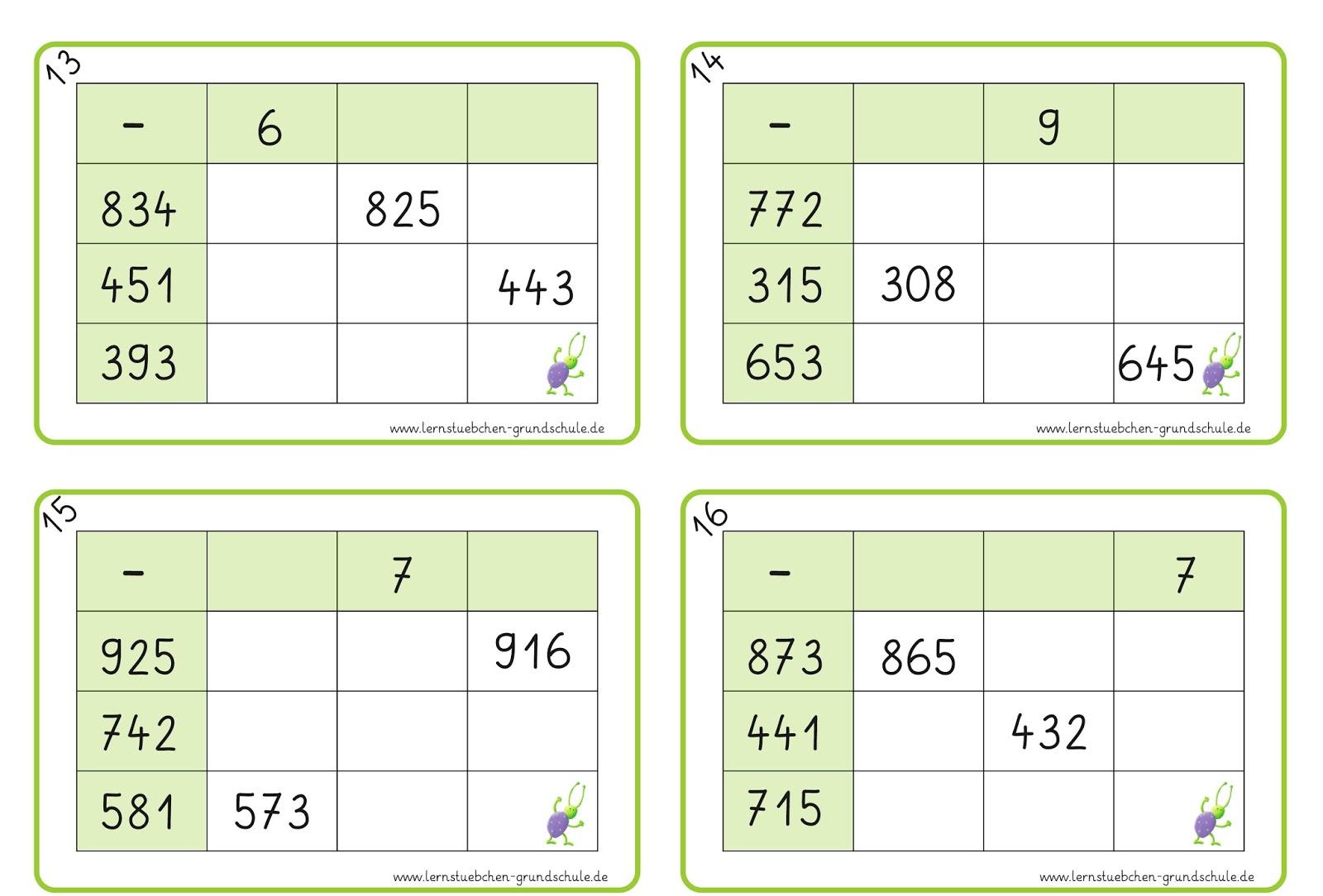 Lernstübchen: Tabellenrechnen über den Zehner (2)
