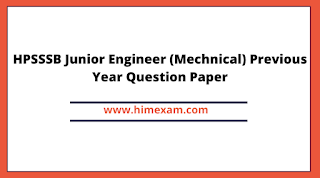 HPSSSB Junior Engineer (Mechnical) Previous Year Question Paper