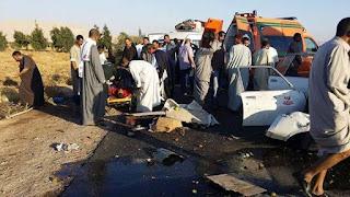 وقوع حادث سير مروع علي طريق مطار سوهاج الدولي