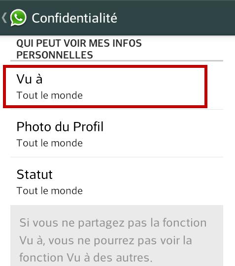 cacher derniere connexion whatsapp