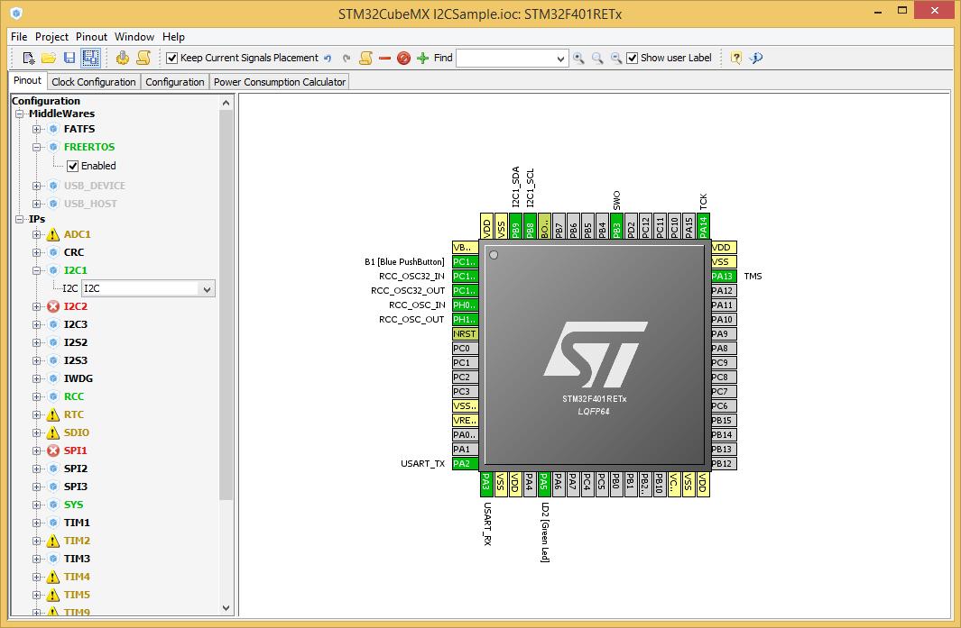 Lightsurge: I2C, Nucleo STM32F401RE and FreeRTOS