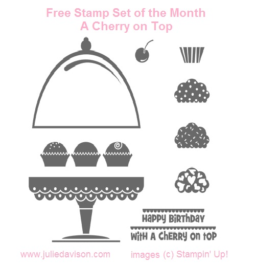 Julie S Stamping Spot Stampin Up Project Ideas By Julie Davison Free Stamp Set Of The Month A Cherry On Top