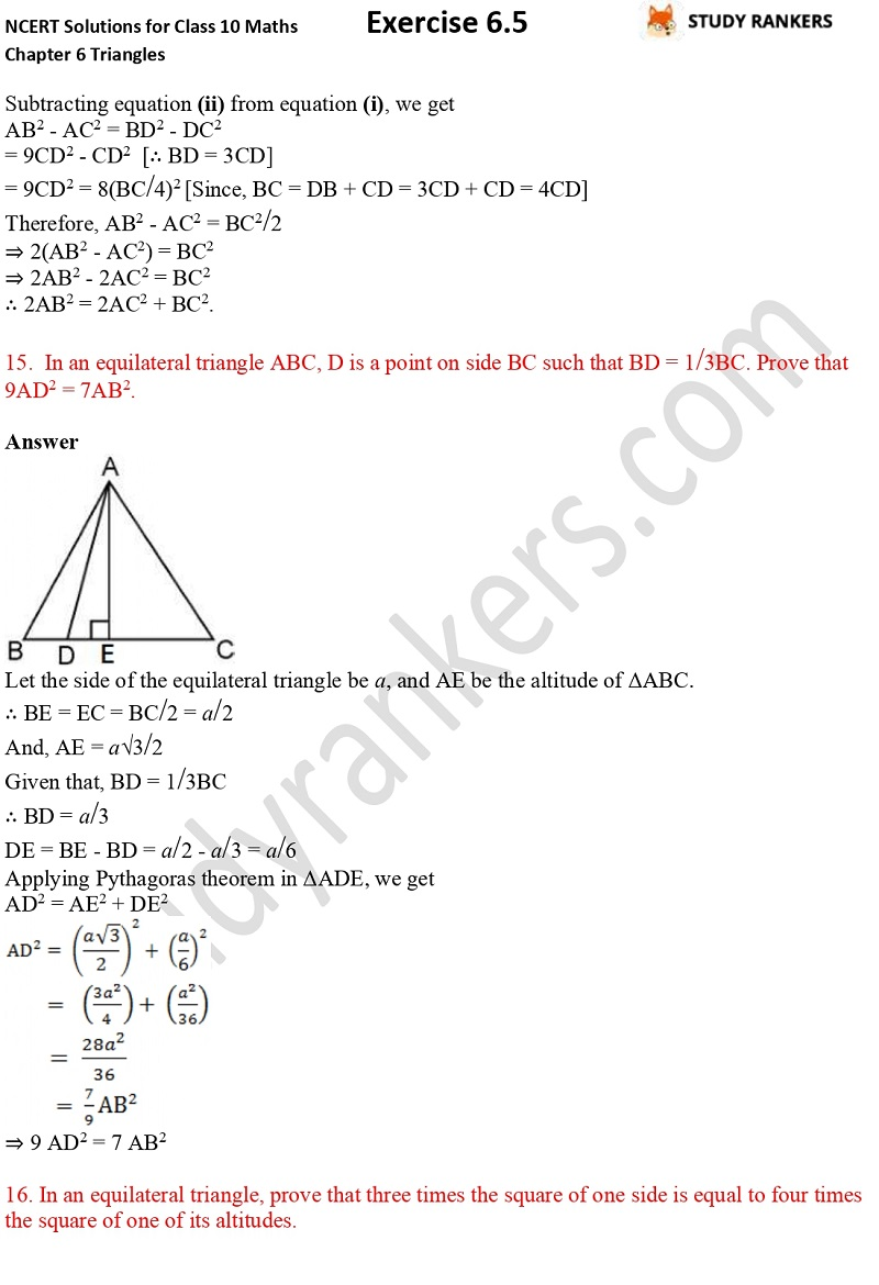 NCERT Solutions for Class 10 Maths Chapter 6 Triangles Exercise 6.5 Part 10