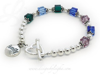 Family 7 Birthstone Bracelet - May or Emerald, December or Blue Topaz, September or Sapphire, June or Alexandrite with a Family Charm