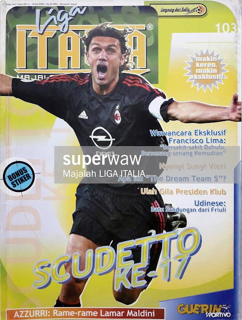 PAOLO MALDINI OF AC MILAN SOCCER MAGAZINE COVER