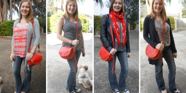 retro vibe outfits flared jeans and red saddle bag from Rebecca Minkoff fall fashion | awayfromtheblue