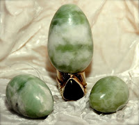 Set of three jade eggs