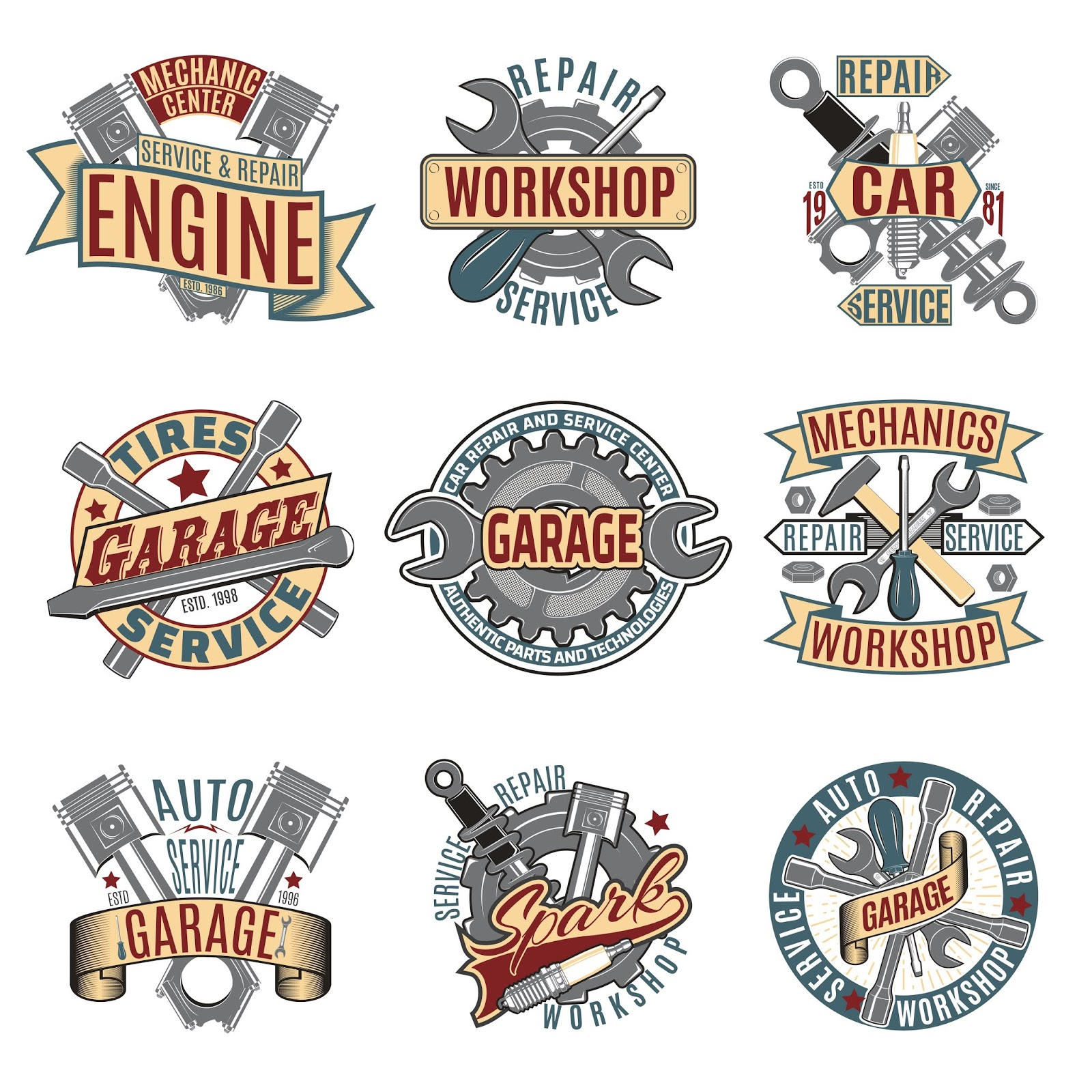 A set of vector text logo designs with the highest quality in various magazines