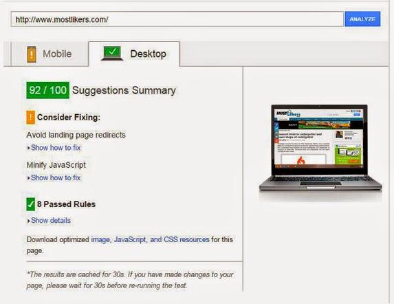 desktop PageSpeed Insights