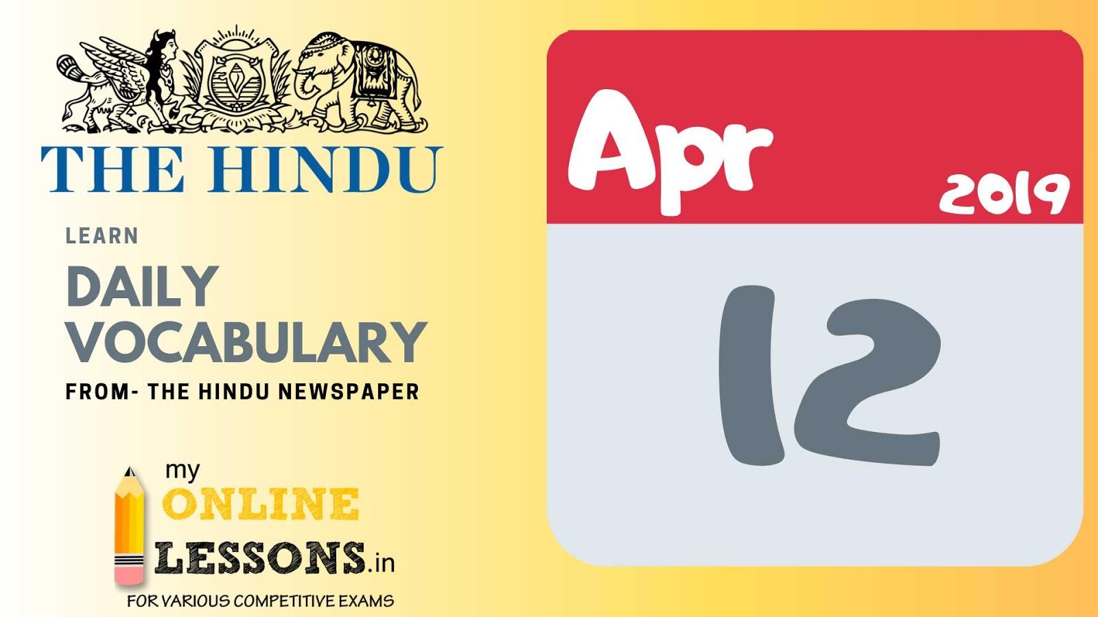 12-04-2019 | Daily Vocabulary- The Hindu