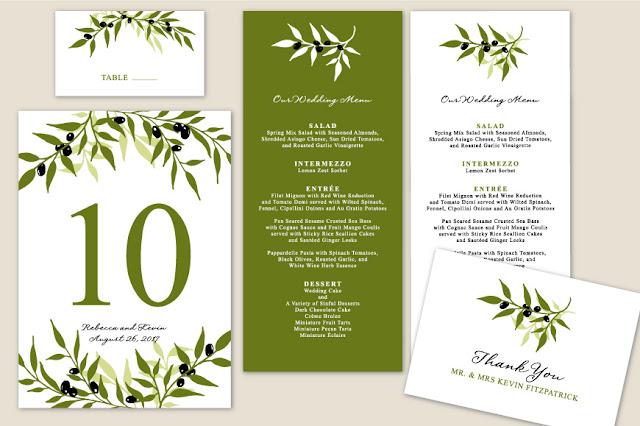 Creative Market Printable Olive Branch Wedding Invitation Templates