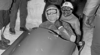 Eugenio Monti and his brakeman in the two-man bob event at the 1956 Winter Olympics in Cortina d'Ampezzo