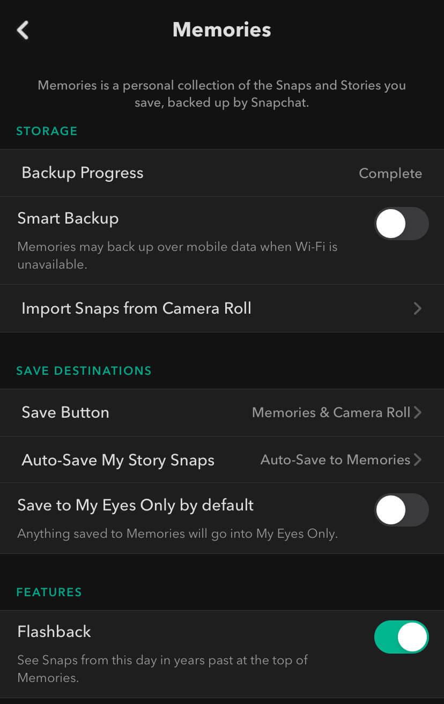 Snapchat Save Button settings