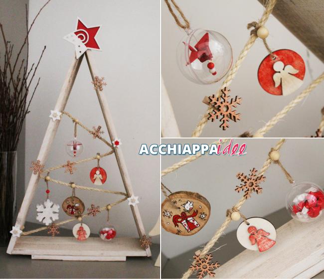 Un college di immagini per un albero di Natale speciale, di legno e materiali naturali