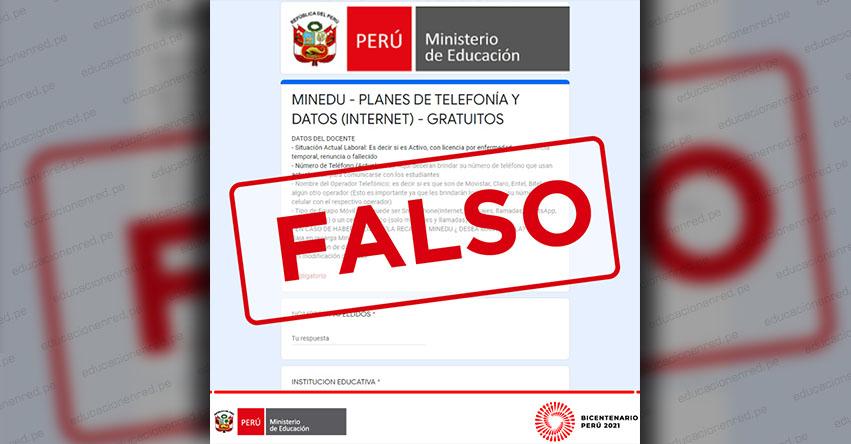 COMUNICADO MINEDU: Sobre falso formulario solicitando datos personales de docentes para planes gratuitos de internet y telefonía - www.minedu.gob.pe