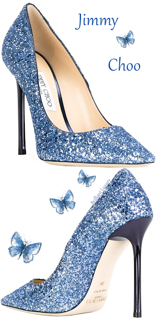 Blue sparkling Jimmy Choo Romy pump #brilliantluxury