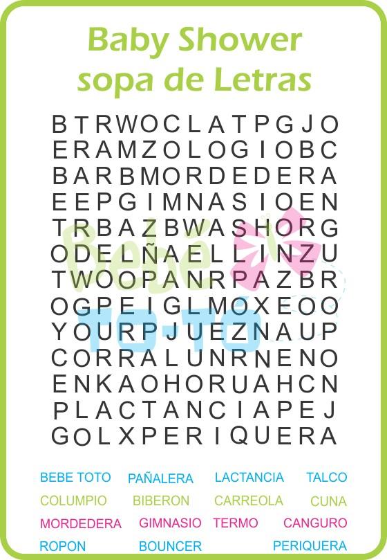 Juegos Sopa De Letras Para Baby Shower Para Imprimir Imagui