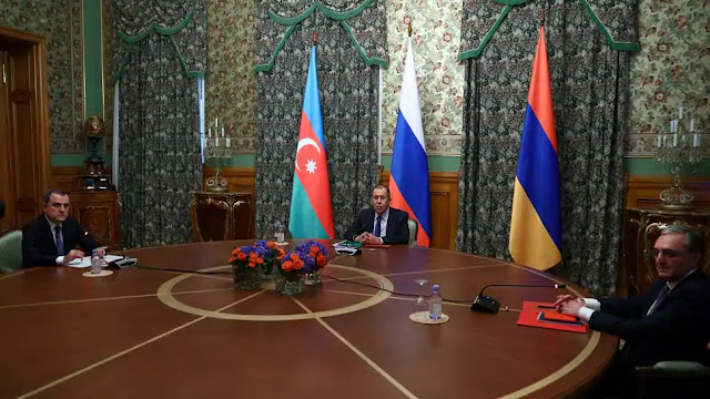 Russia's Foreign Minister Sergei Lavrov with armenian and azerbaijan counterpart