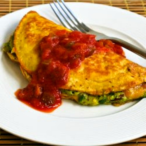Low-Carb Southwestern Omelet with Easy Guacamole and Salsa found on KalynsKitchen.com