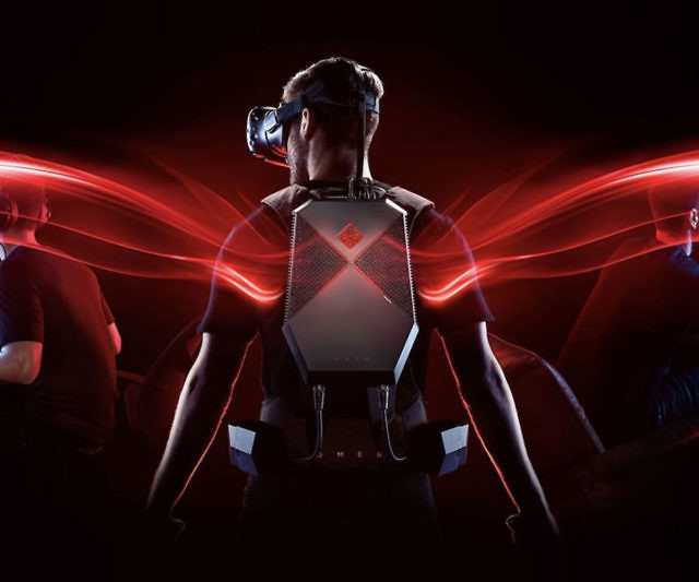 Strap on the Omen X virtual reality gaming backpack and immerse yourself completely in the virtual world. The backpack allows you to move freely while you play and comes with 4 external battery packs that you can easily swap out during game play.