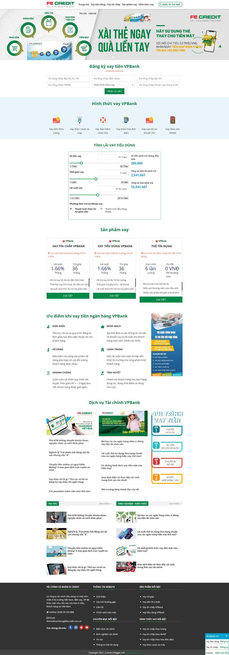Template dịch vụ tài chính ngân hàng vpbank