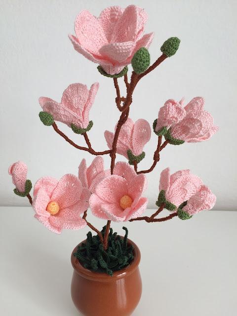 Il blog di sam how to crochet a magnolia for Il blog di sam piante grasse