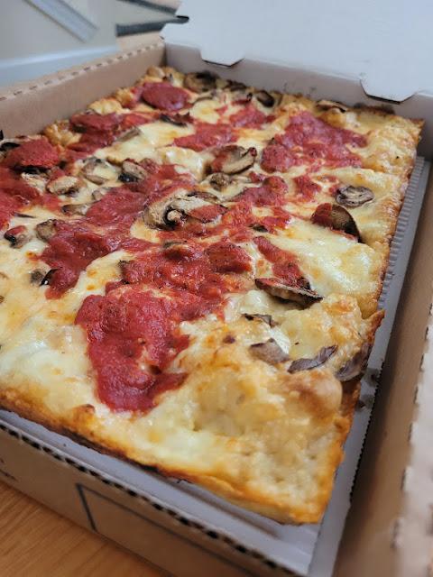 Mushroom Detroit-style pizza from Buddy's Pizza