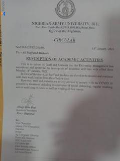 naub resumption date notice