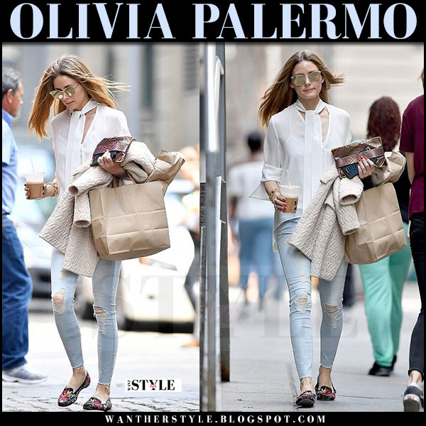 Olivia Palermo in white sheer blouse and ripped skinny jeans what she wore april 2017