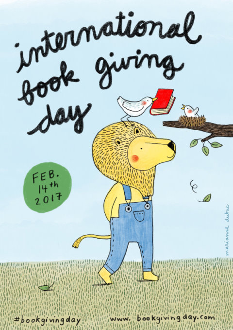 2017 International Book Giving Day poster created by Marianne Dubuc