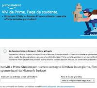 schermata dove inserire indirizzo email accademico per fare l'iscrizione ad amazon prime student