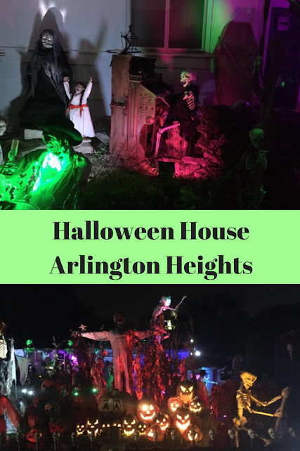 Elaborate Halloween decorations in Arlington Heights, Illinois