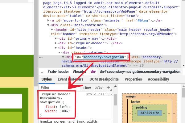Seleccionando el estilo CSS que va ocultar el menú en WordPress