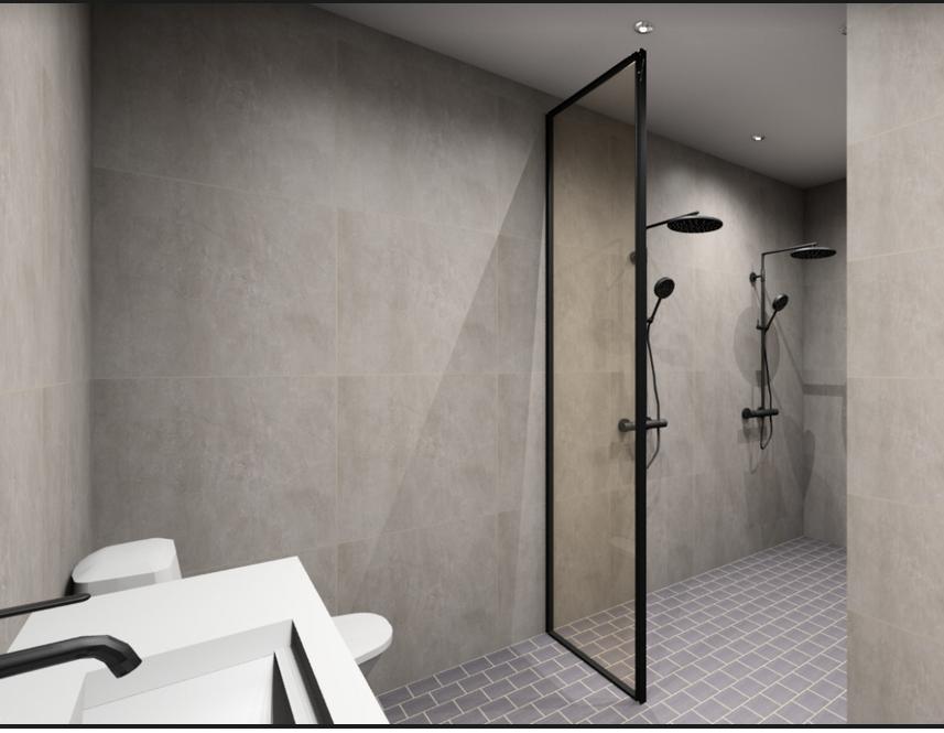 mustakehyksinen lasiseinä suihkuun