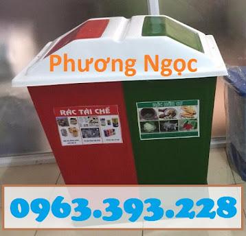 Thùng rác nhựa composite, thùng rác 2 ngăn, thùng phân loại rác TR2N4