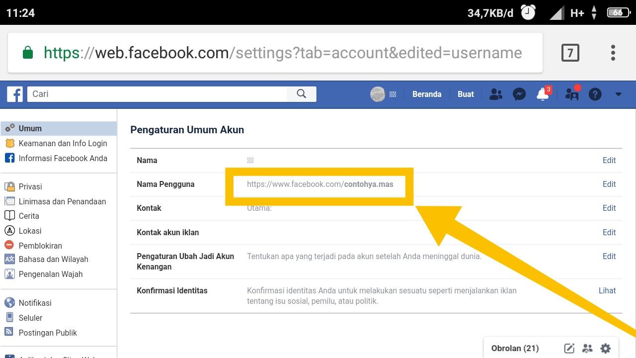 cara membuat link facebook di instagram