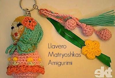 Matrioska Dolls llavero Amigurumi Crochet