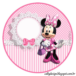 Toppers o Etiquetas de Minnie con Rayas Rosa para imprimir gratis.