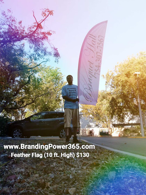10 ft. Feather Flag Designed, Printed and Delivered to our Customer LNS Blissful Memories in South Florida - BrandingPower365.com; Powered by: RJO Ventures, Inc.