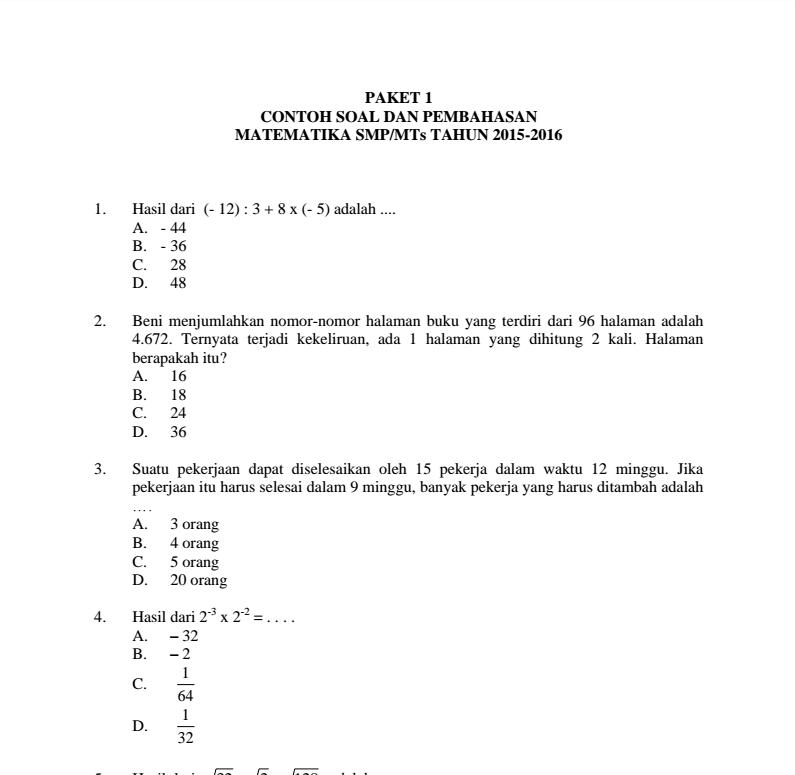 Prediksi Soal Un Bahasa Indonesia Mts 2015