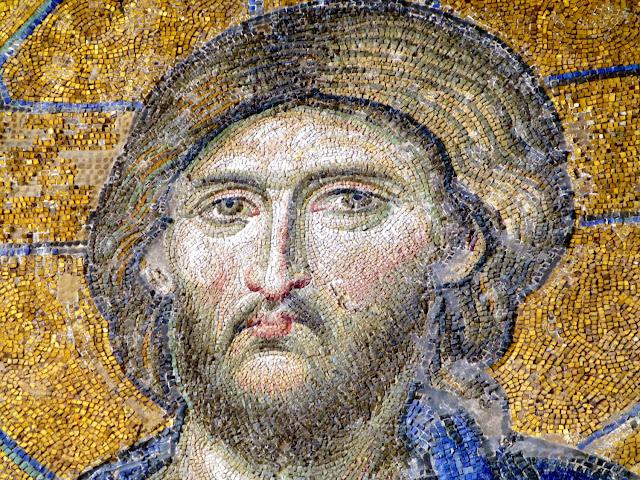 Santa Sofía, detalle rostro del Cristo del mosaico de la Deesis