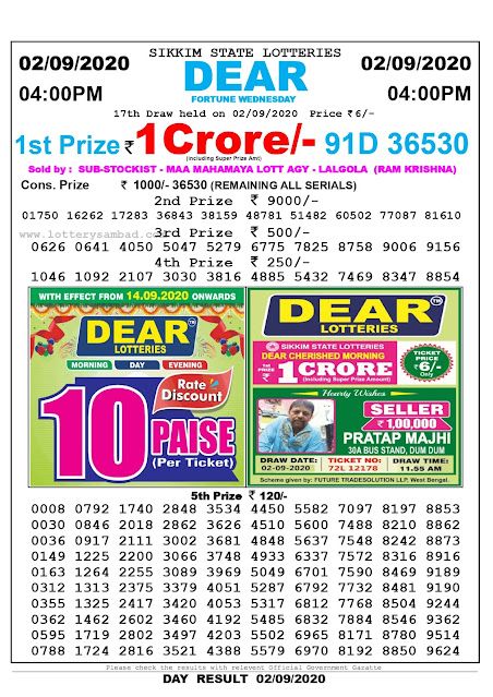 Lottery Sambad Result 02.09.2020 Dear Fortune Wednesday 4:00 pm