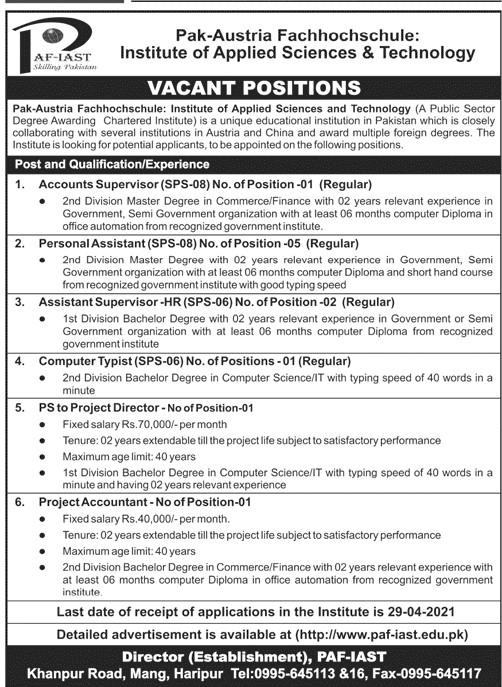 Pak Austria Fachhochschule Institute of Applied Sciences & Technology (PAF-IAST) Jobs 2021 in Pakistan