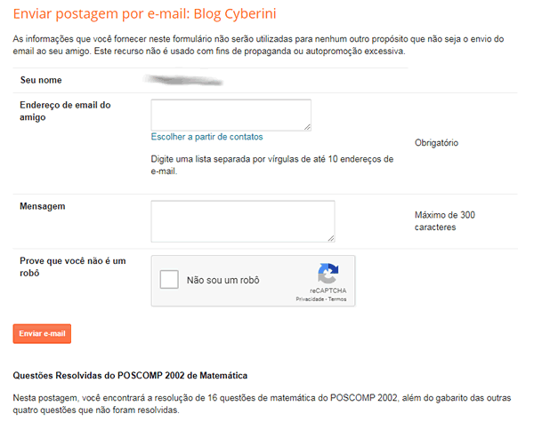 Página de compartilhamento por e-mail do Blogger