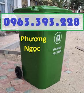 Thùng rác nhựa 120 lít nắp kín, thùng rác 120L nhựa HDPE, thùng rác công cộng 2 bánh xe