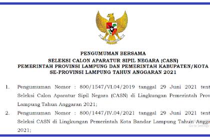 Wajib Tau Pengumuman Penting CASN Provinsi Lampung Tahun 2021